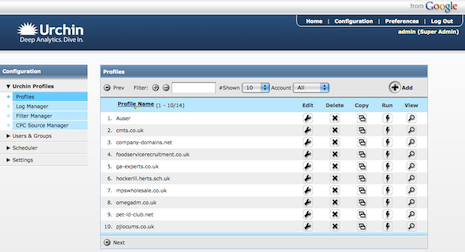 Urchin 6 admin interface